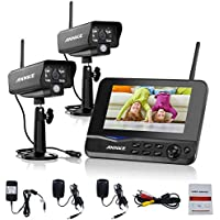 Annke Wireless Video Monitoring System with 7¡¯¡¯ LCD Screen and (2) 2.4GHz Digital Weatherproof Cameras with IR Night Vision LEDs, Indoor/Outdoor, Motion Detection
