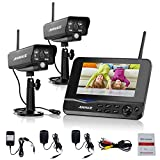 "Cheap Annke Wireless Video Monitoring System with 7"" LCD Screen and (2) 2.4GHz Digital Weatherproof Cameras with IR Night Vision LEDs, Indoor/Outdoor, Motion Detection"