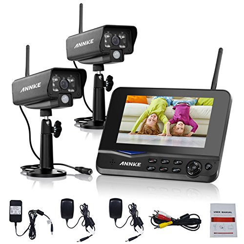 Annke Wireless Video Monitoring System with 7'' LCD Screen and (2) 2.4GHz Digital Weatherproof Cameras with IR Night Vision LEDs, Indoor/Outdoor, Motion Detection