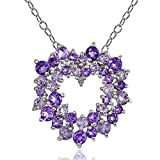 Sterling Silver African Amethyst, Amethyst and Diamond Accent Cluster Heart Necklace