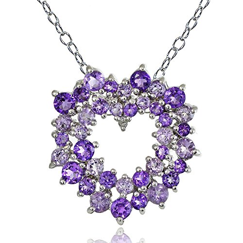 - Ice Gems Sterling Silver African Amethyst, Amethyst and Diamond Accent Cluster Heart Necklace