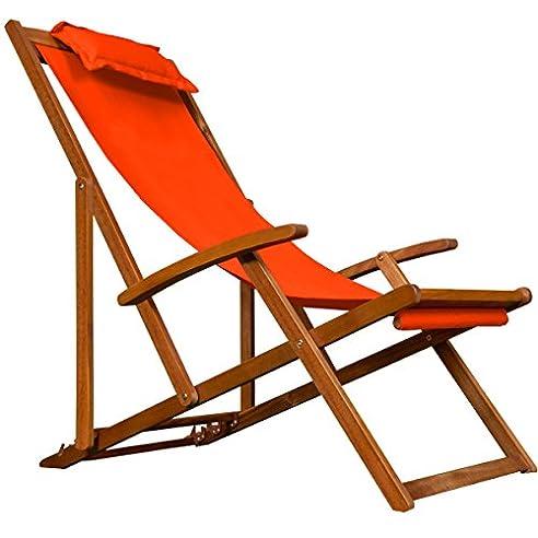 Gartenliege holz klappbar  Amazon.de: Deckchair Orange Sonnenliege Liegestuhl Strandstuhl ...