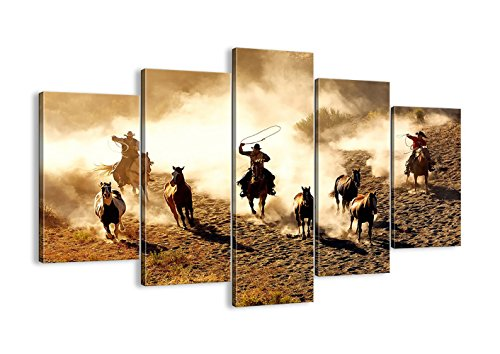 Retro Canvas Wall Art Horse Bull Running in the Desert Painting Prints Framed Ready to Hang-5 Panels Vintage Abstract Horses Giclee Prints Fine Art for Home and Office Decoration(50''W x 24''H)