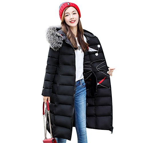 Gamery Women Reversible Winter Long Parkas Down Jackets Outerwear Plus Size With Faux Fur Hood Black XL