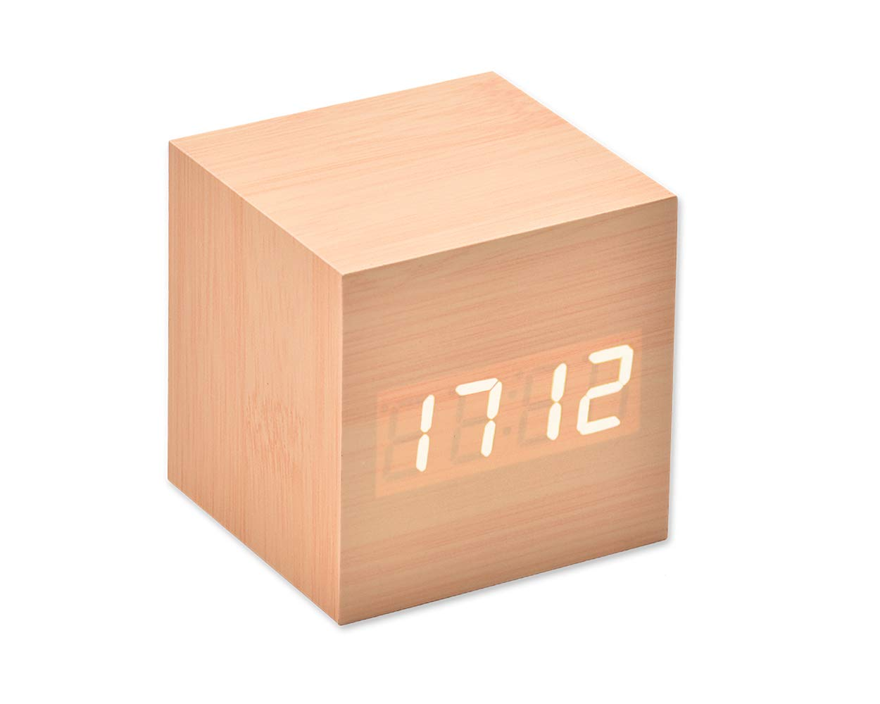 Shopready LED Alarm Clock Wooden Digital Alarm Clock Wood Cube Clock with Voice Activation, Date Time and Temperature Display Alarm Function for Home and Office - Black (White Display)