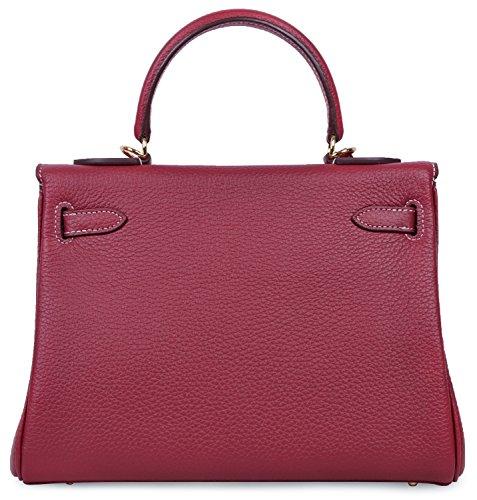 Handle Handbags Shoulder Red Stitching Wine With Satchel Top Cross Women's Cherish Body Handbag Kiss White Padlock wqxnSaf