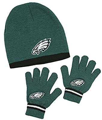 Philadelphia Eagles NFL Little Boys Knit Hat and Gloves Set - Green (Kids 4-7)