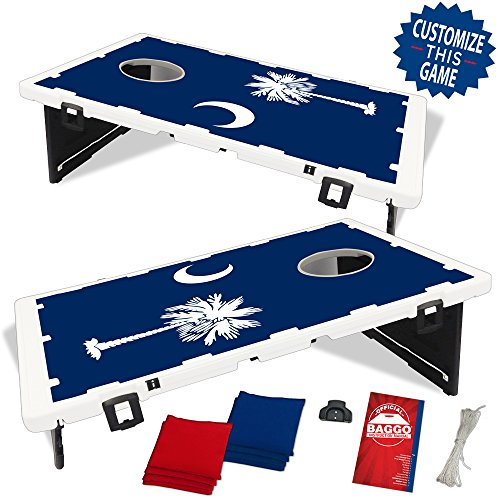 South Carolina Palmetto Blue Flag Baggo Bean Bag Toss Portable Cornhole Game