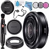 Sony E 20mm f/2.8 Lens SEL20F28 + 49mm 3 Piece Filter Kit + Lens Pen Cleaner + Fibercloth + Lens Capkeeper + Deluxe Cleaning Kit Bundle
