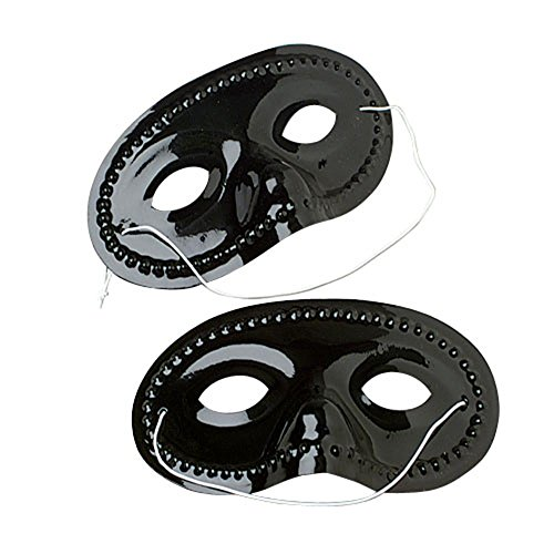 US Toy Plastic Face Masks (1 Dozen), Black -