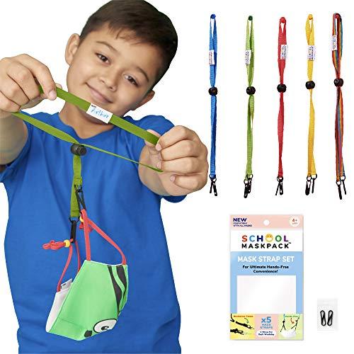 SchoolMaskPack Mask Lanyard Straps – Kids (5 packs), Brights