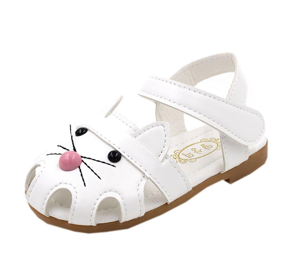 Vokamara Cat Shoes Toddler Walking Shoes Little Girl Close Toe Flat Sandals White 24