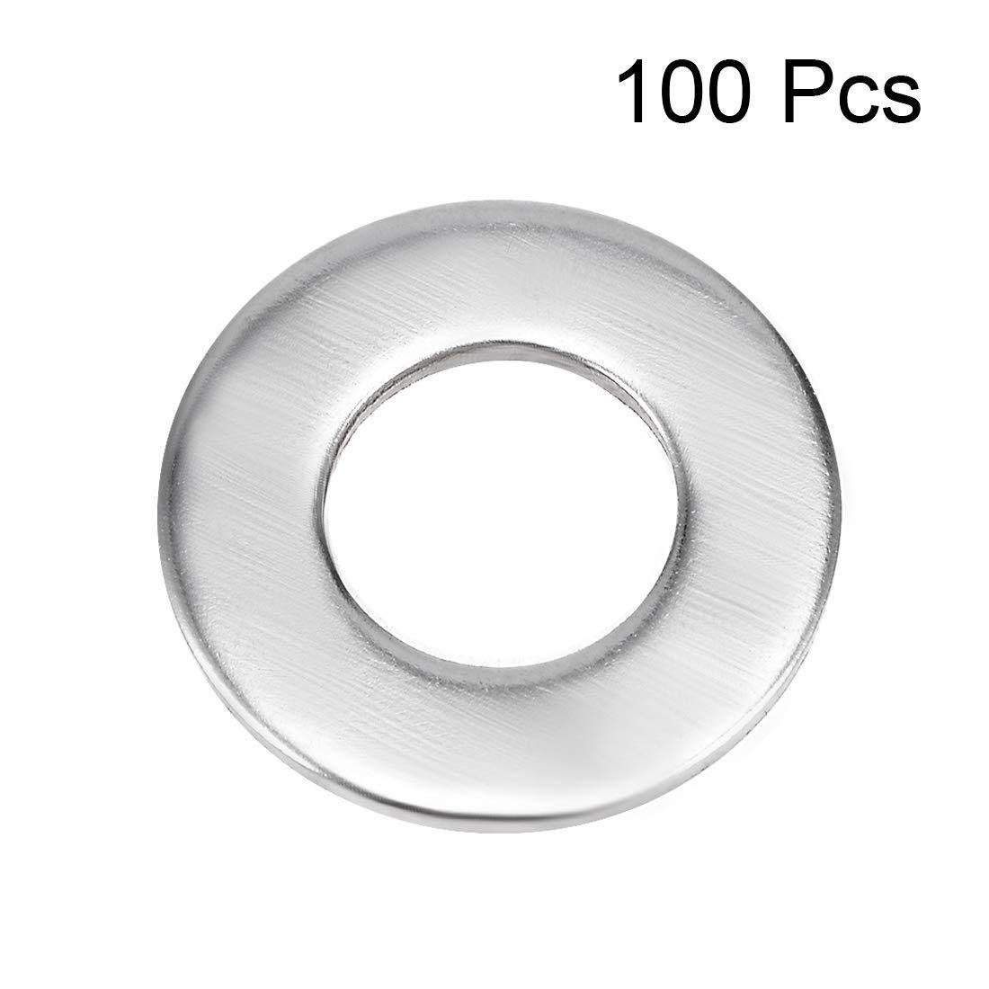 100 arandelas planas de acero inoxidable para tornillos de 8 mm x 3 mm x 0,6 mm 304
