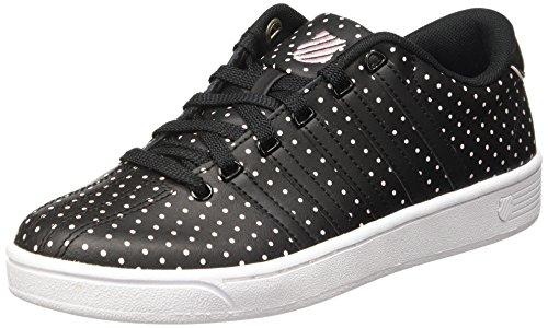 K-Swiss Women's Court Pro II CMF Dots Black/Blushing Bride Leather Sneaker 8 B (M)