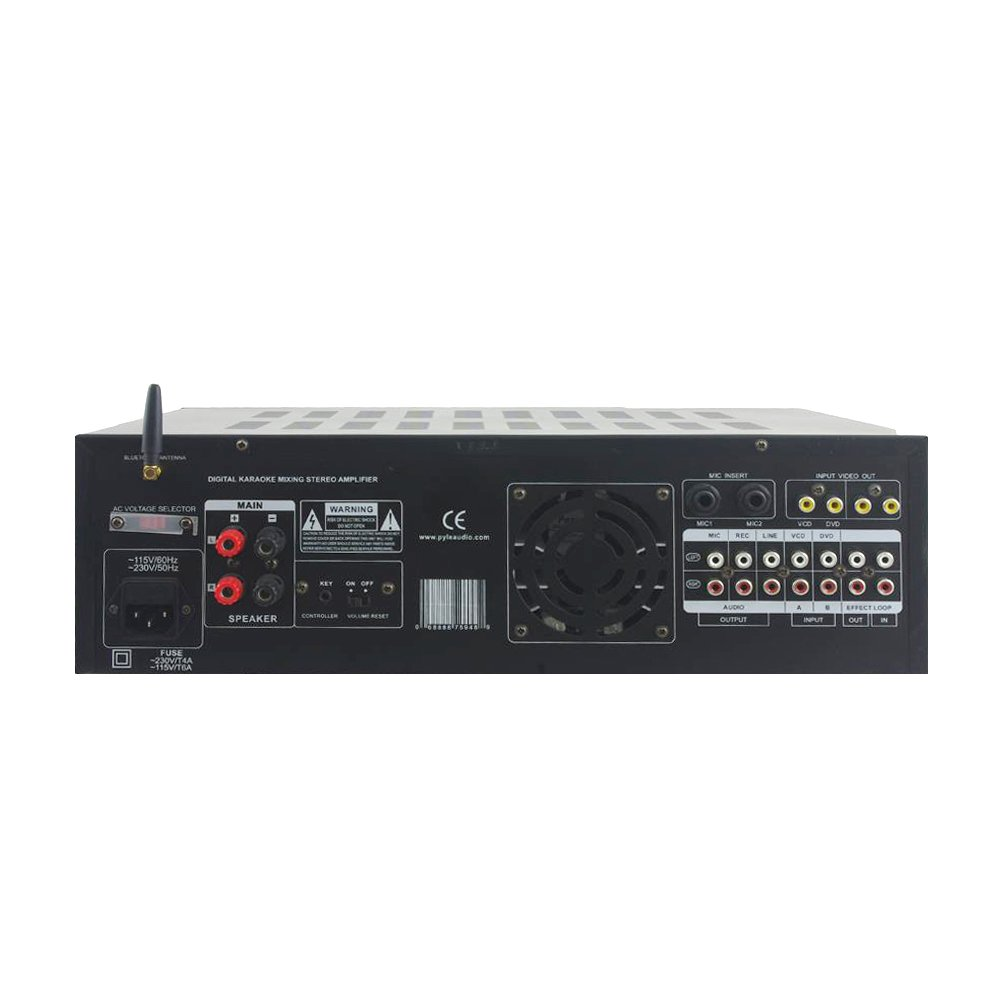 Pyle PMXAKB2000-2000 Watts 1000W + 1000W at 4 Ohms 2 Microphone Inputs with Effects and EQ DJ Karaoke Mixer and Amplifier with Built-in Bluetooth