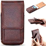 iPhone 7 Plus 6 Plus 6s Plus 8 Plus Case with Belt Clip, Keklle PU Leather Holster Pouch Holder Cover Cell Phone Carrying ID Wallet Case for Apple iPhone 8 Plus 7 Plus with Thin Case On - Brown