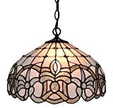 Amora Lighting AM294HL16 16 Inches Wide Tiffany Style White Hanging Lamp - 16
