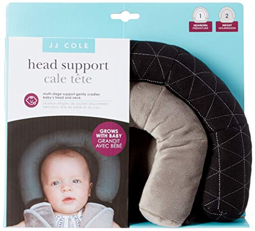 JJ Cole - Head Support, Newborn Head and Neck Support for Car Seat and Stroller, Designed to Adjust with Age, Black Tri Stitch, Birth and Up ()