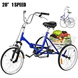 Happybuy 24 Inch Adult Tricycle Series 6 7 Speed 3 Wheel Bike Adult Tricycle Trike Cruise Bike Large Size Basket for Men's Women's Bike (Blue 1 Speed Foldable)