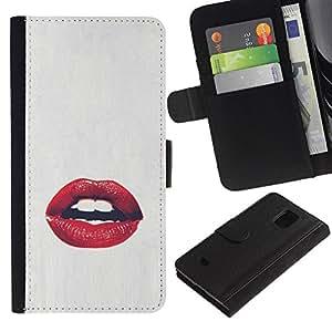 iBinBang / Flip Funda de Cuero Case Cover - Blanco Rojo beso amor beso - Samsung Galaxy S5 Mini, SM-G800, NOT S5 REGULAR!