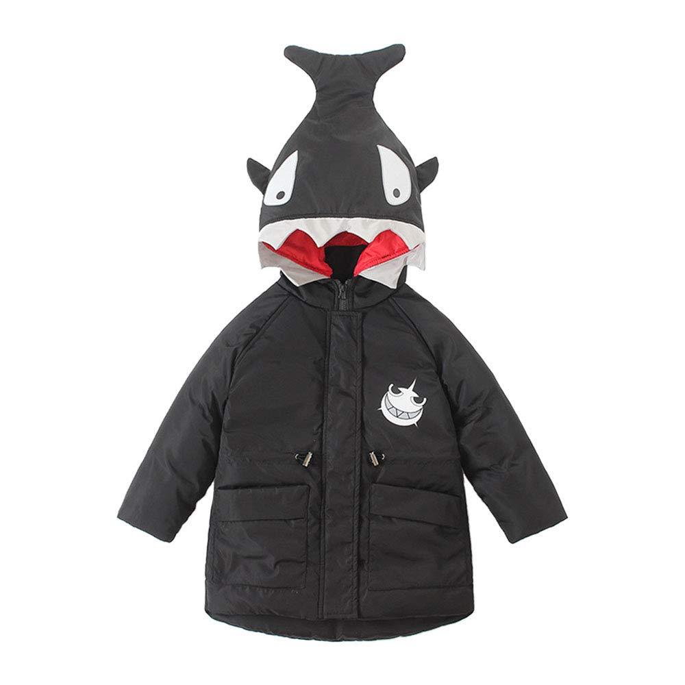 Yuntown Kids Padded Overcoat Boy Hooded Winter Coat Warm Shark Pattern Jacket