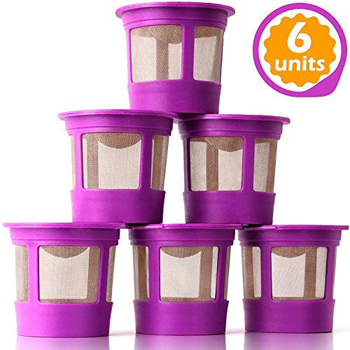 GoodCups 6 Reusable K Cups for Keurig K-Classic, K-Elite, K-Select, K-Cafe, K-Compact, K200, K300, K400, K500, Refillable Kcups Coffee Filters for 2.0 and 1.0 Brewers