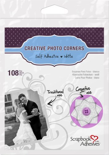 Classic Style Paper Photo Corners .5 Self Adhesive 108/Pkg-White by 3L