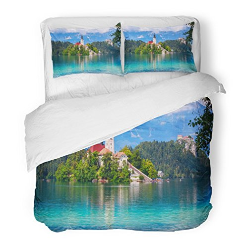 SanChic Duvet Cover Set Blue Castle Bled with Lake Island and Mountains in Slovenia Europe Green Hill Decorative Bedding Set with 2 Pillow Shams Full/Queen Size by SanChic