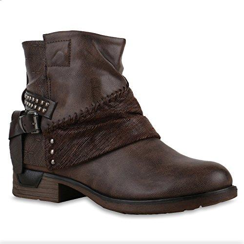 Stiefeletten Flandell Schuhe Leder Zipper Naht Biker Schnallen Stiefelparadies Boots Damenschuhe Knöchelhohe Optik Braun Stiefel Damen 7q4wx5B