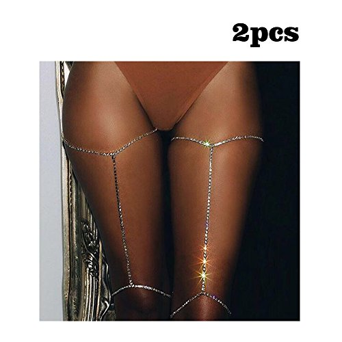 VITORIA'S GIFT Silver tone Rhinestone Simple Women Body Jewelry Handmade Chain Tassel Thigh Leg Chain(2 PCS)