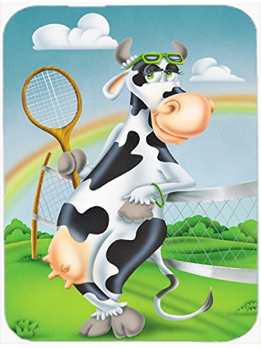 (Caroline's Treasures Cow Playing Tennis Mouse Pad, Hot Pad or Trivet, Multicolor (APH0533MP))