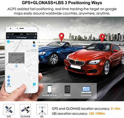 GOLOPHY Rastreador de Coche con GPS, 2 G, Impermeable, IP65, Google Maps, Pista en Tiempo Real, línea de Corte de Choque, Alarma de 7 a 100 V, localizador GPS, aplicación Libre de