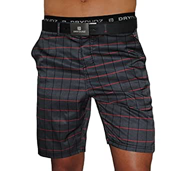 Mens Athletic Shorts, Perfect to be worn as Mens Boardshorts, Mens Golf Shorts or as Mens Swim Shorts (Black Plaid, 32)