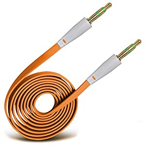 ONX3® (Orange) High Quality 3.5mm Male To Male Jack Flat Cable AUX Auxiliary Audio Cable Lead For T-mobile Move