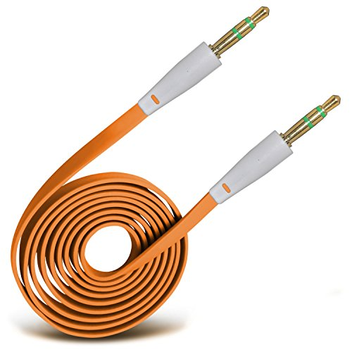 Usb 8320 Curve (ONX3® (Orange) High Quality 3.5mm Male To Male Jack Flat Cable AUX Auxiliary Audio Cable Lead For Blackberry Curve 8320)
