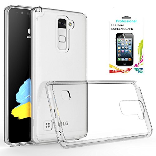 LG Stylo 2/Stylus 2/Stylo 2V/G Stylo 2 clear case with HD Screen Protector,AnoKe[Scratch Resistant] Hard Transparent Acrylic Rubber Silicone Bumper Hybrid Ultra Slim LS775 TM - Phone Clear Case Stylus