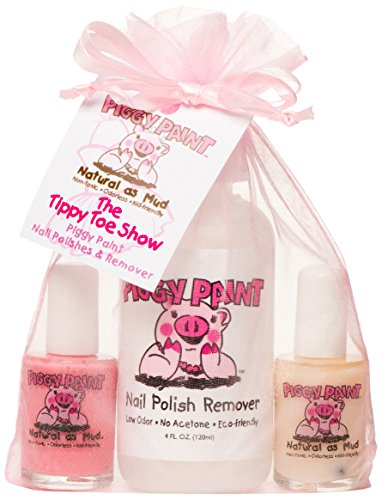 Piggy Paint Non-toxic Girls Nail Polish Kit – The Tippy Toe Show (Pink, White, Remover)