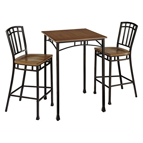 Traditional Design Piece Bistro Set, Craftsman Style Sturdy Engineered Wood Tabletop, Distressed Oak Finish, Deep Brown Powder Coated Metal Accented with Gold Highlighting + Expert Guide