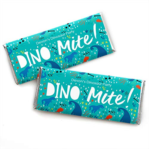 (Personalized Roar Dinosaur - Custom Dino Mite Trex Baby Shower or Birthday Party Favors Candy Bar Wrapper - Set of 24)