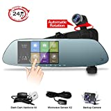 Mirror Dash Cam Backup Camera HD 1080P Panoramic Front and Rear Car Mirror with 360°Automatic Rotatable and Exclusive Dual Microwave Sensor Hardwire Kit with Parking Monitor and Night Vision