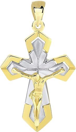 14K Two Tone Gold Elegant Eastern Orthodox Cross Crucifix Pendant Necklace