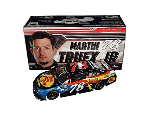 AUTOGRAPHED 2018 Martin Truex Jr. #78 Bass Pro Shops PATRIOTIC RED-WHITE-BLUE PAINT SCHEME (Furniture Row Racing) Monster Series Signed Lionel 1/24 Scale NASCAR Diecast Car with COA (#018 of only - Row Patriotic