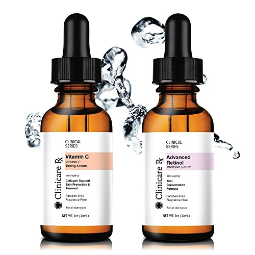 Wrinkle Serum Anti Collagen Intensive (Clinicare Rx Day/Night Kit Vitamin C Intensive Serum | Advanced Retinol Intensive Serum | Natural Anti Aging Anti Wrinkle | 2 @ 1 fl. oz.)