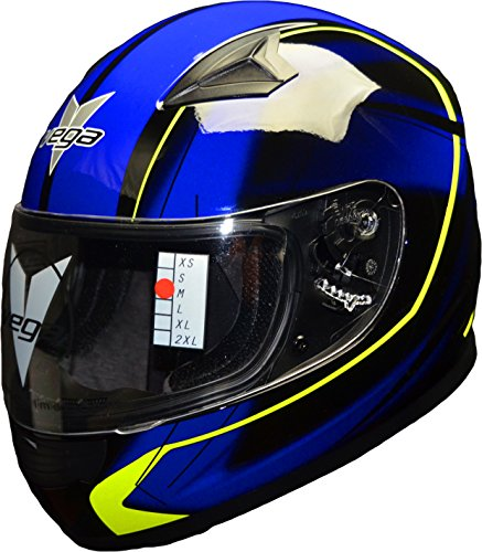 Vega Helmets Mach 2.0 JR Kids Youth Motorcycle Helmet – DOT Certified Full Face Motorbike Helmet for Cruisers Sports Street Bike Scooter Touring Moped Moto with Slinger Graphics (Blue, Large) (Vega Helmet Snow)