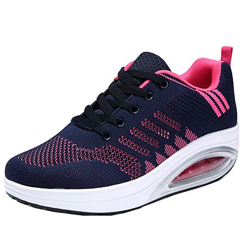 JARLIF Women's Comfortable Platform Walking Sneakers Lightweight Casual Tennis Air Fitness Shoes Blue US6.5