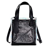Bolayu Fashion Women Shoulder Bag Clear Skeleton Tote Shoulder Crossbody Bag Girls Bag Handbags (Silver)