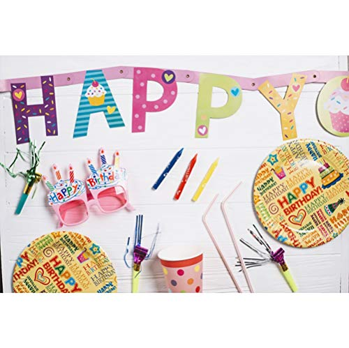 (Laeacco 10x7ft Vinyl Happy Birthday Photography Background Colorful Letters Plates Straws Pink Glasses Party Accessories Backdrop Child Kids Baby Birthday Party Banner Childish Wallpaper Studio)