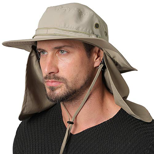 Jormatt Unisex UV Protection Outdoor Wide Brim Sun Hat UPF 50+ with Flap Neck Cover Foldable Fishing Safari Cap,G-Gray