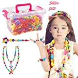 Pop Beads Set - 540+ PCS Snap Together Beads for Girls Toddlers Creative DIY Jewelry Set Toys-Making...