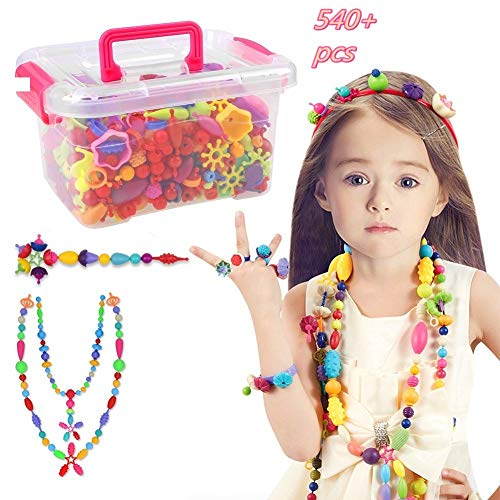 Diy Christmas Gift Ideas (Pop Beads Set - 540+ PCS Snap Together Beads for Girls Toddlers Creative DIY Jewelry Set Toys-Making Necklace, Bracelet, Hairband and Ring - Ideal Gift Idea for Christmas & Birthday)
